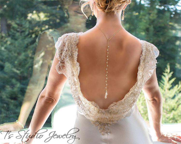 Mariage - Back Drop Pearl Bridal Necklace and Earrings Set Backdrop Lariat Style in gold or silver tone - AMELIA