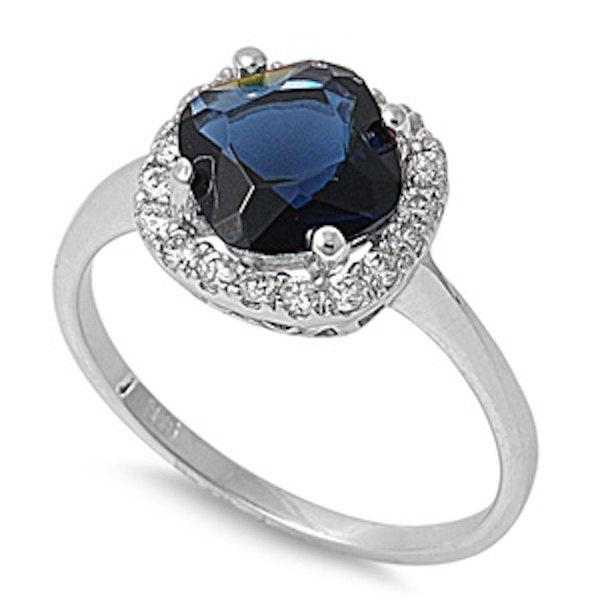 Mariage - 2.00 Carat Cushion Cut Deep Blue Sapphire Round White CZ Solid 925 Sterling Silver Solitaire Halo Wedding Engagement Promise Ring Love gift