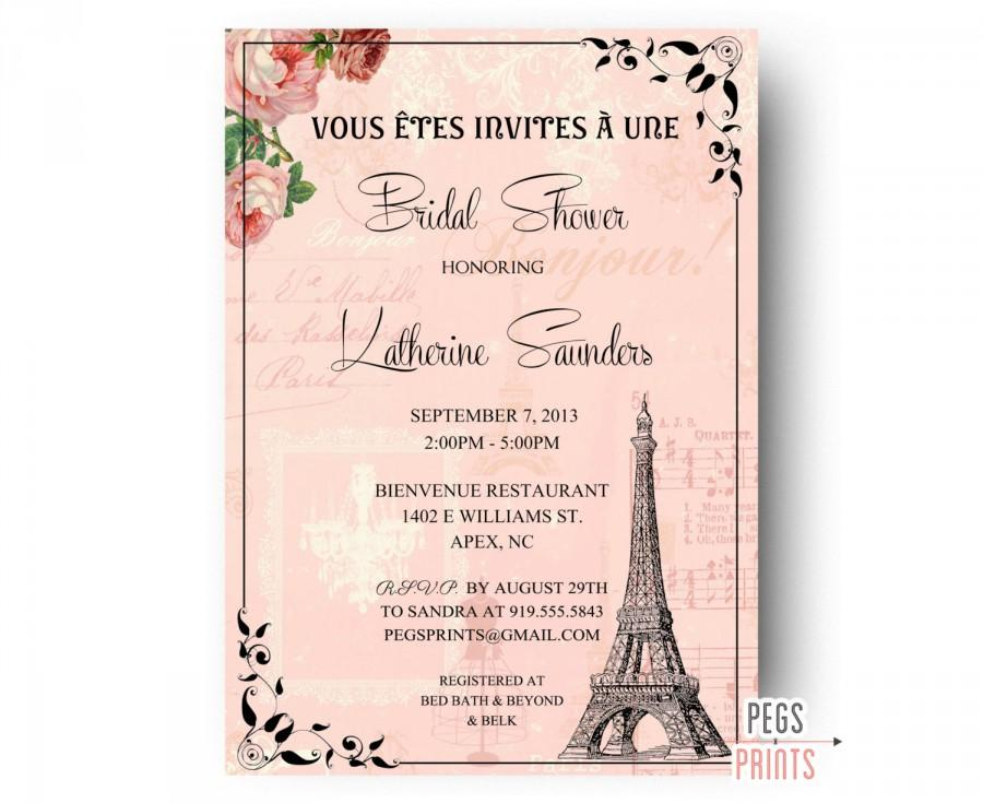 paris bridal shower invitation printable paris themed