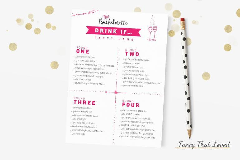 Mariage - INSTANT DOWNLOAD -Bachelorette Party or Drink If Game - Bachelorette Party Game