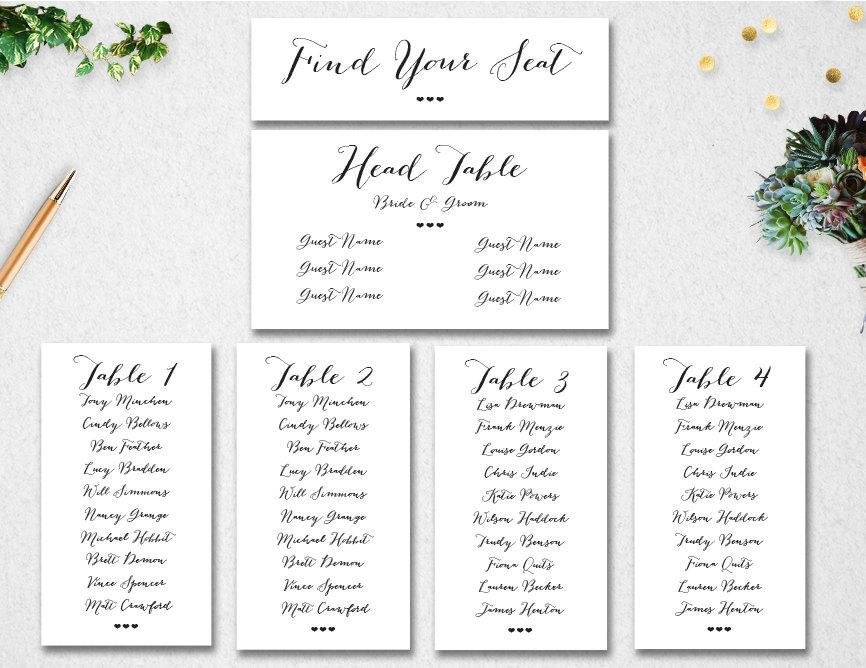 Wedding Table Seating Chart Editable Template Instant Printable Find Your Seat Header Card Pdf