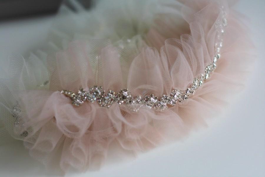 One Blush Pink Wedding Garter Nude Toss Tulle Bridal Belt Rhinestone Chain