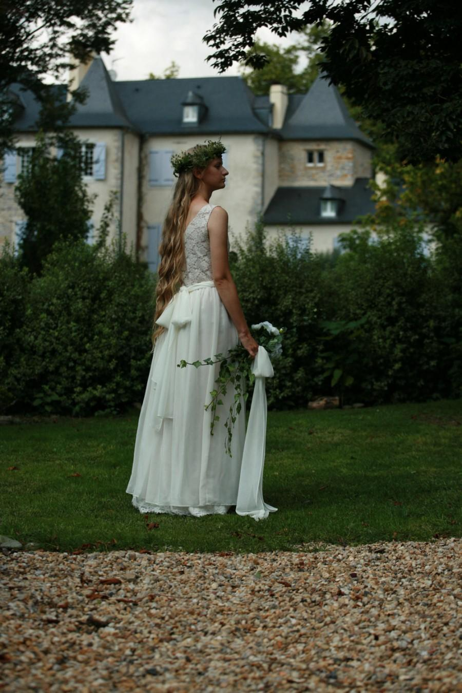 Свадьба - Cream,off white cotton lace, viscose bridal gown, boho wedding dress - made by your measurments, simple wedding dress