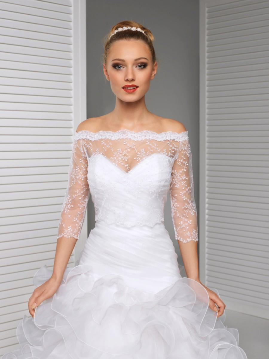 Mariage - Off-Shoulder Lace Bolero Jacket Bridal Bolero