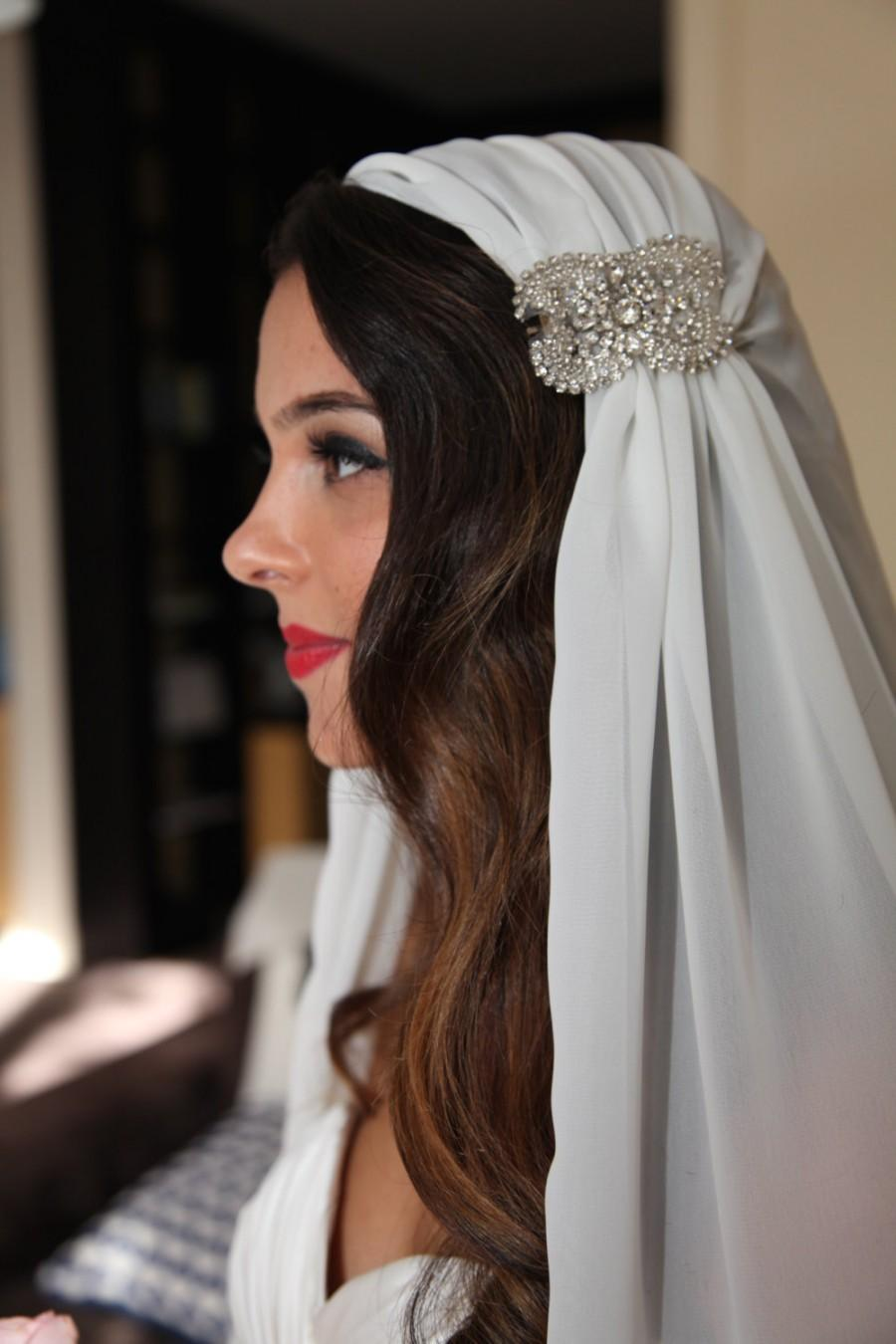 Hochzeit - Juliet Cap Veil, Chiffon Veil, Wedding Veil, Crystal Applique, Juliet Veil, Cap Veil, Vintage Art Deco Veil - SECOND