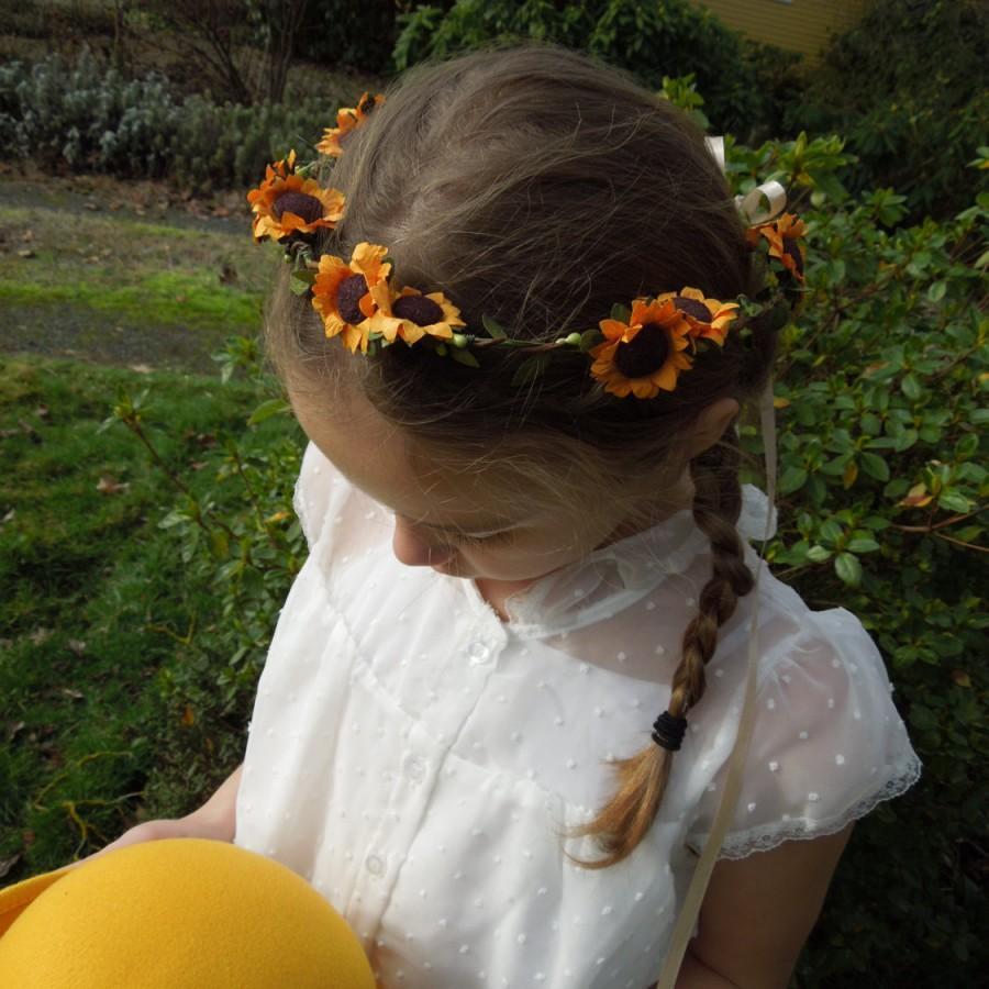 Sunflower Crownflowergirl Crowngolden Sunflowers Bridesmaid Hair