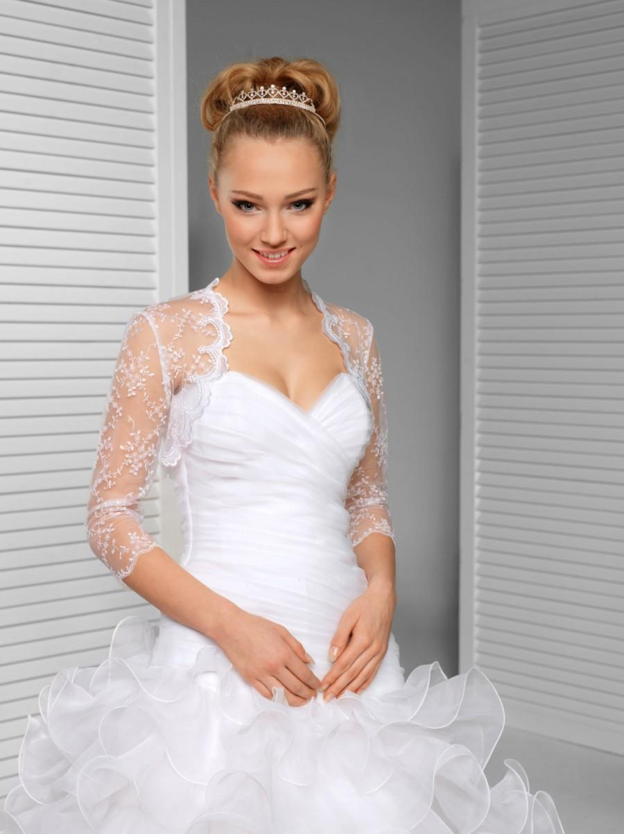 زفاف - Lace Bridal Cover up - 3/4 Sleeve Lace Wedding Jacket