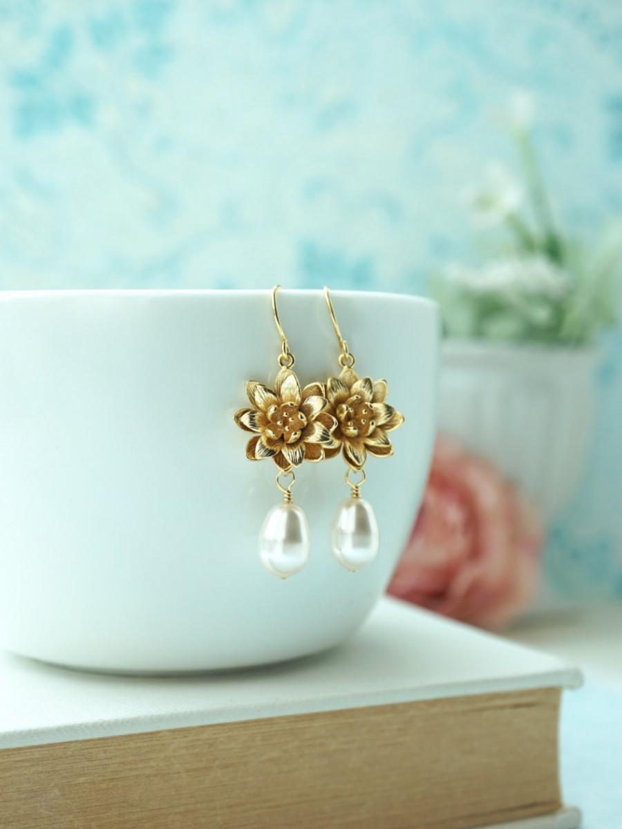 Lotus Earrings Gold Lotus Flower Earrings Water Lotus Earrings