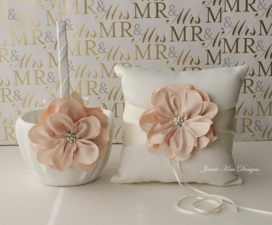 Mariage - Ring Bearer Pillow and Flower Girl Basket Set - (Custom Made)