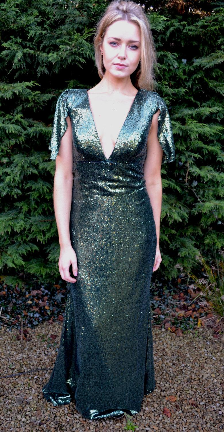 Hochzeit - Custom made ' Claudia' full sequin mermaid gown with capelet shoulder sleeves