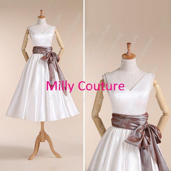 Свадьба - V neck 1950s tea length wedding dress,rockabilly short wedding dress, retro 1950s wedding dress,Elizabeth