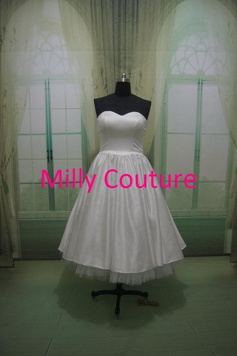 Свадьба - Jolin-  vintage strapless wedding dress 50s brautkleid wedding dress, tea length wedding dress, short wedding dress, 1950 wedding dress