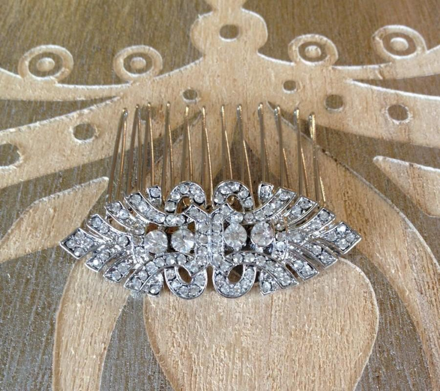 Mariage - Art Deco rhinestone hair comb, rhinestone, 1920s, weddings, rustic, bridal, jewelry, country, decorative, hair comb, Art Deco, hair slide