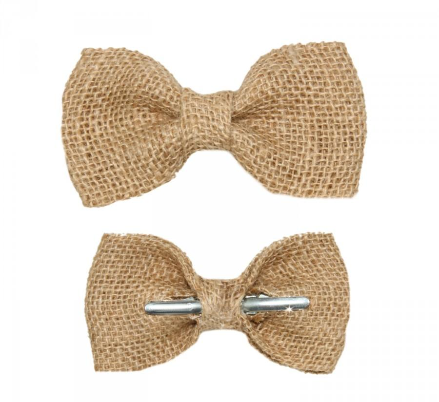 Mariage - Natural Burlap Clip On Bow Tie - Men / Boys / Toddler Rustic Wedding Bowtie
