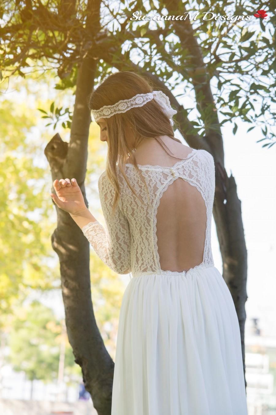 Свадьба - Wedding Dress, Long Bridal Gown, Ivory Bridal Dress, Lace and Chiffon Wedding Gown, Long Sleeve Wedding Dress, Handmade by SuzannaM Designs