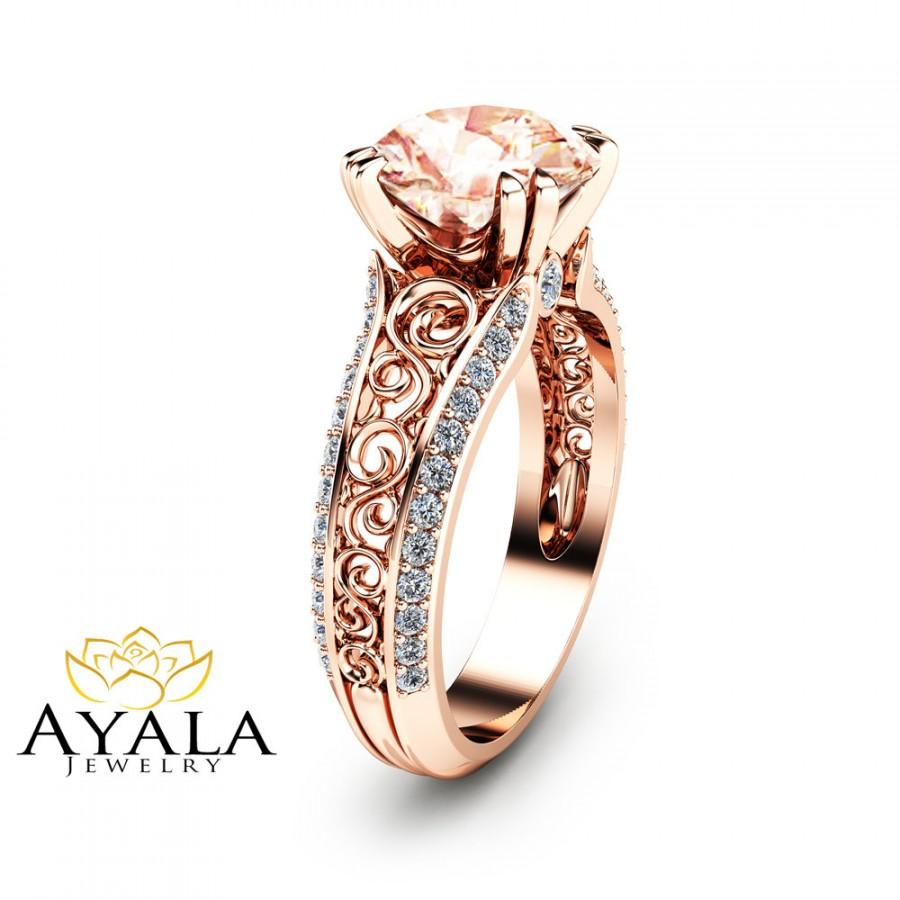 Mariage - 2 Carat Peach Pink Morganite Custom Ring in 14K Rose Gold Unique Design Engagement Ring  Art Deco Styled Ring