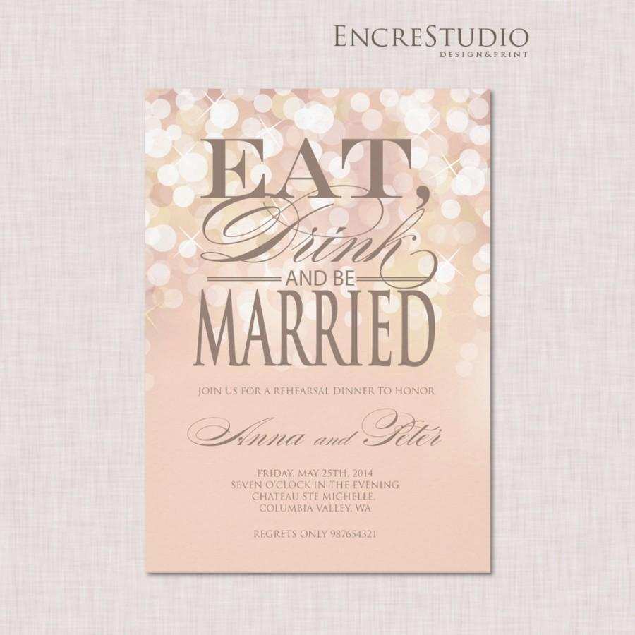 Mariage - Rehearsal dinner invitation - Gold and Blush Bokeh