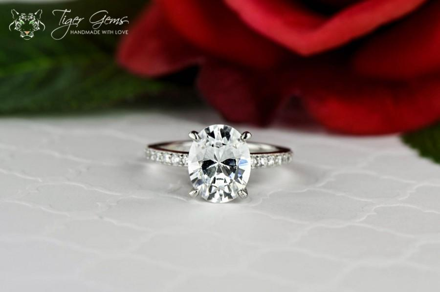 Mariage - 3.25 ctw Oval Solitaire, Engagement Ring, Half Eternity Band, Bridal Wedding Ring, Flawless Man Made Diamond Simulants, Sterling Silver