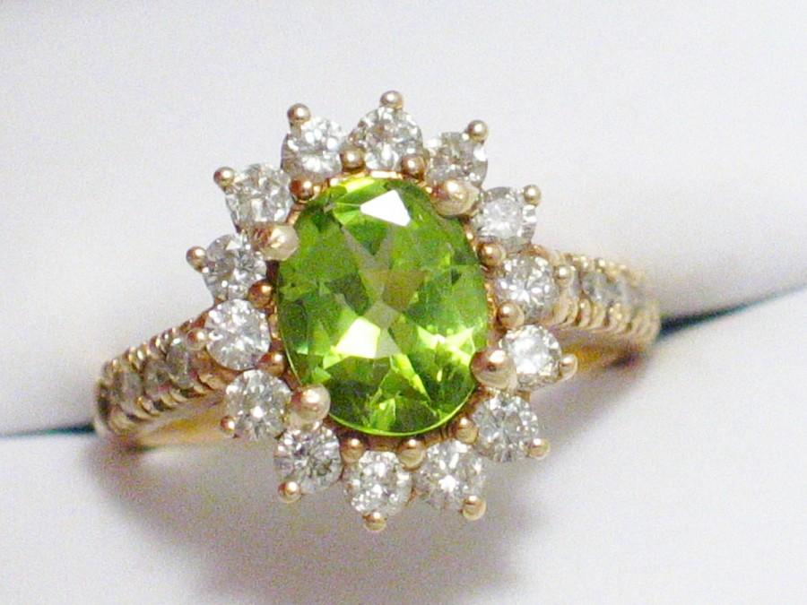 Hochzeit - GIA report stunning 14k gold green peridot solitaire accented w/ diamonds ballerina / halo / cocktail ring band size 6.5