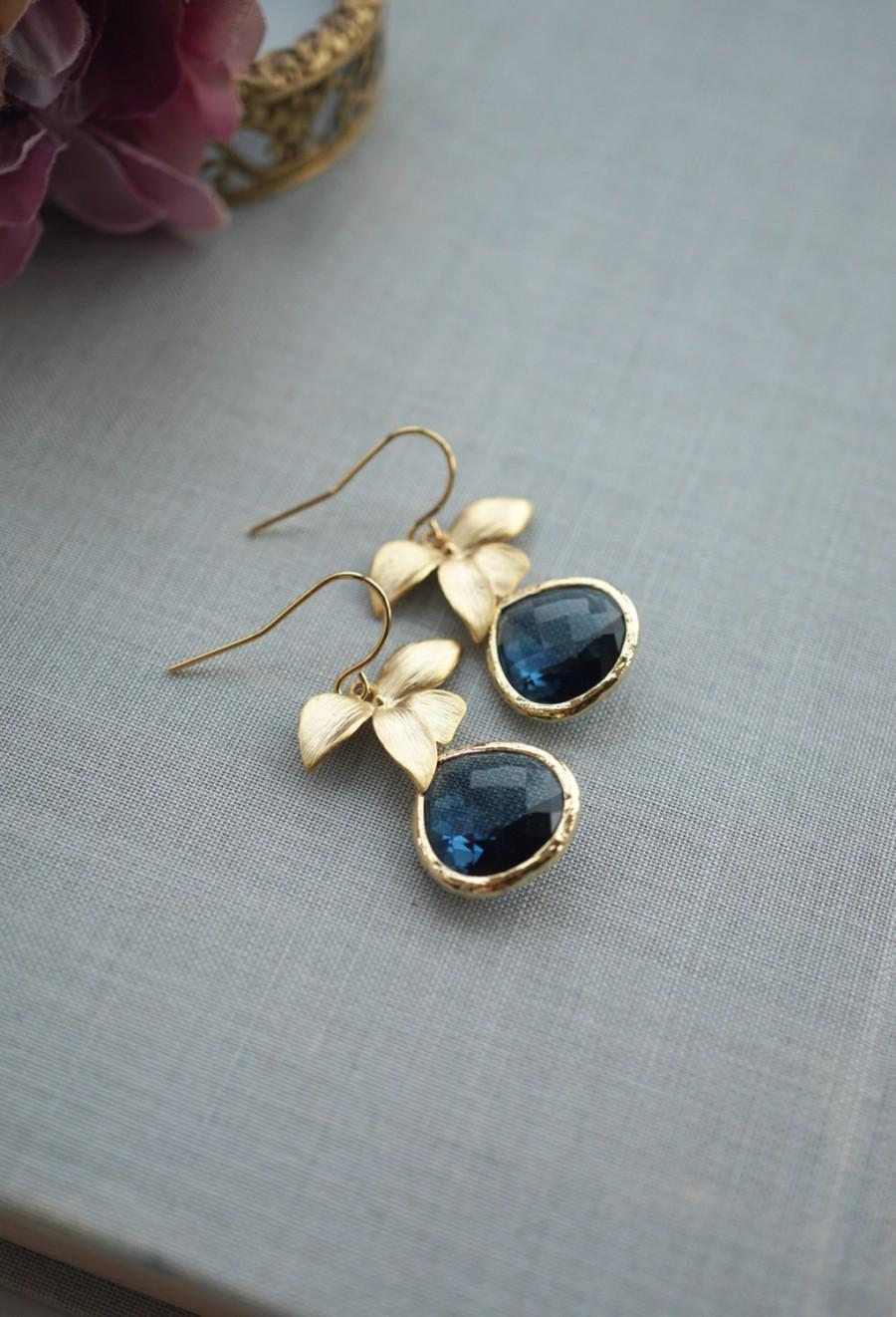 Mariage - Dark Blue, Sapphire Navy Blue Glass Pendants Gold Plated Orchids Drop Dangle Earrings. Bridesmaid Gifts. Blue Gold Wedding, Modern Everyday