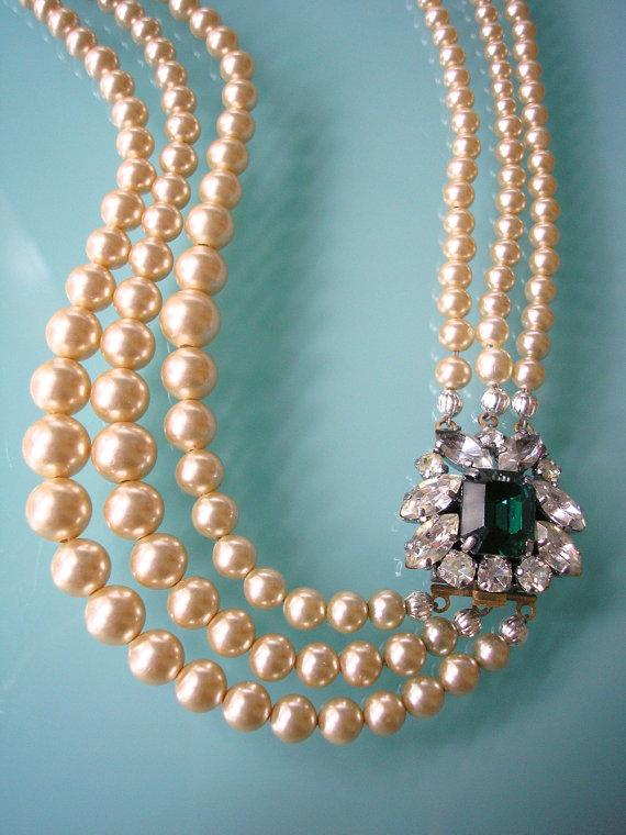 Wedding - EMERALD Necklace, Statement Necklace, Pearl Necklace, Great Gatsby Jewelry, Pearl Choker, Bridal Jewelry, Mother Of The Bride Vintage Bridal