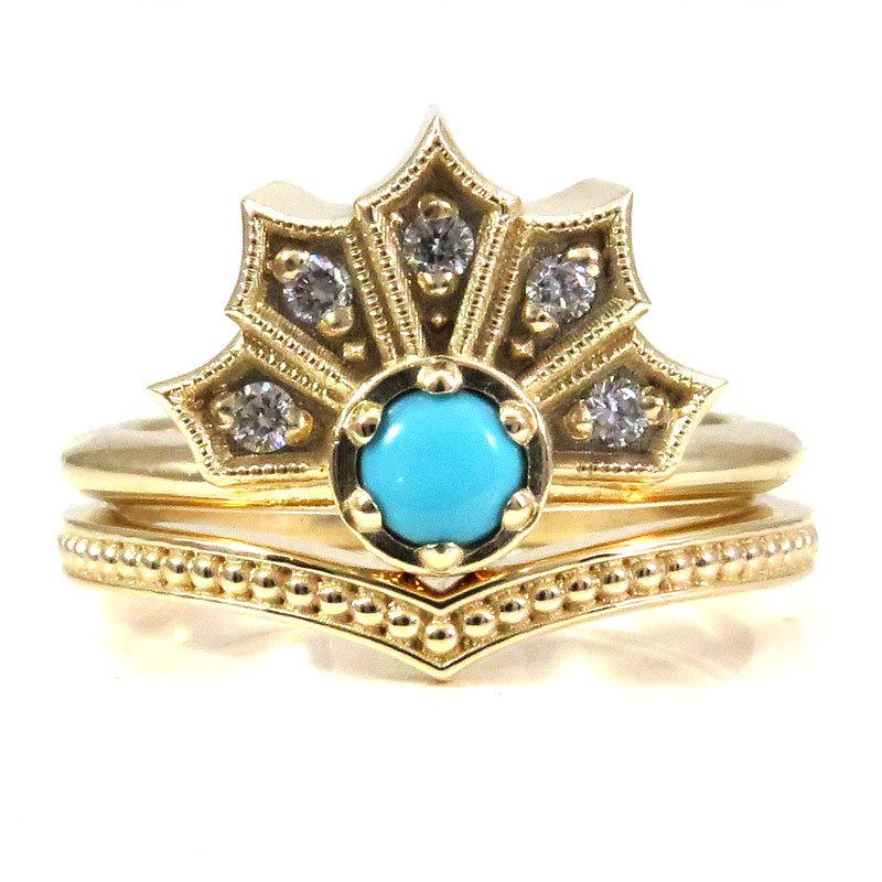 Modern Turquoise And Diamond Gothic Crown Engagement Ring Set With