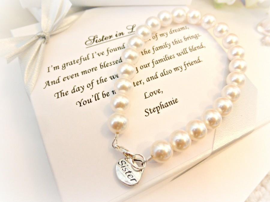 Mariage - Sister Pearl Strand Bracelet, Sister In Law Bridesmaid Attendant Wedding Gift for sister