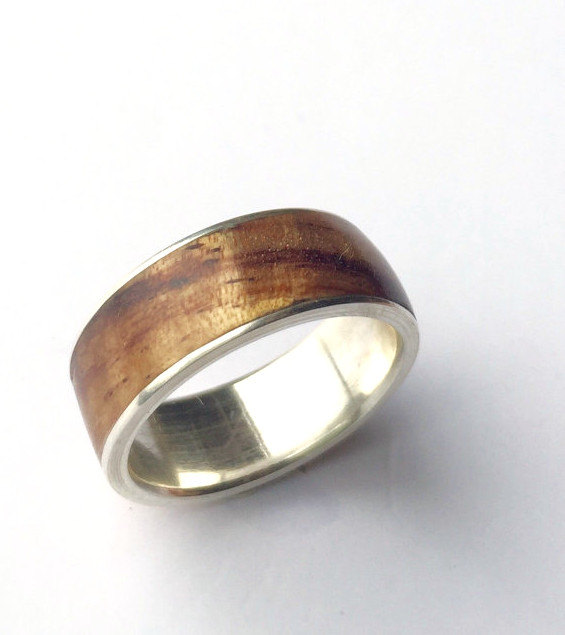 Mariage - Mens ring, wood ring, Sterling Silver ring, Mens wood ring, Mens wooden ring, Mens Silver ring, Wood wedding band, Mens wedding band