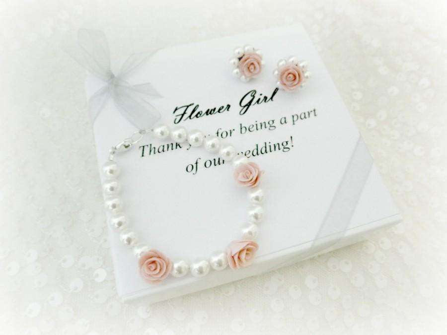 Mariage - Medium Pink Flower Girl Swarovski Pearl Stud Earrings and Matching Bracelet, with Gift Box, Flower Girl Jewelry