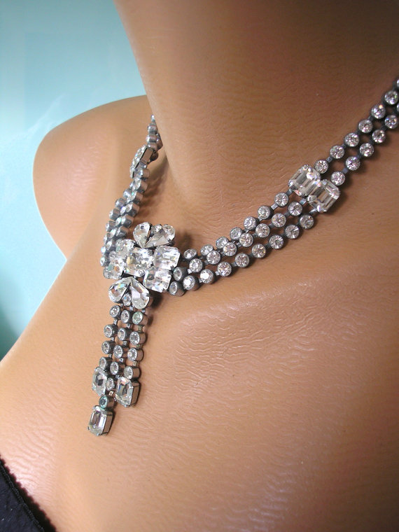 Свадьба - CRYSTAL Bridal Necklace, Wedding Jewelry, Statement Necklace, Vintage Bridal Choker, Rhinestone Necklace, Great Gatsby, Art Deco, Diamante
