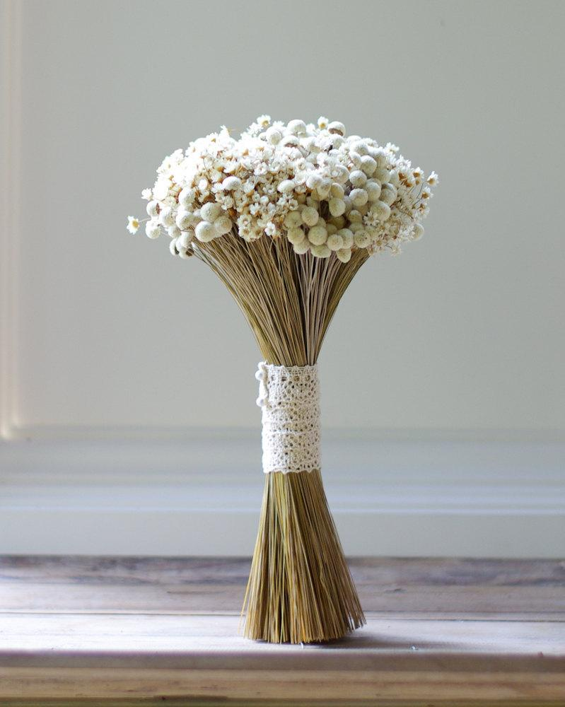Dried Flowers Wedding Bridal Bouquet White Daisy Preserved Bridesmaids