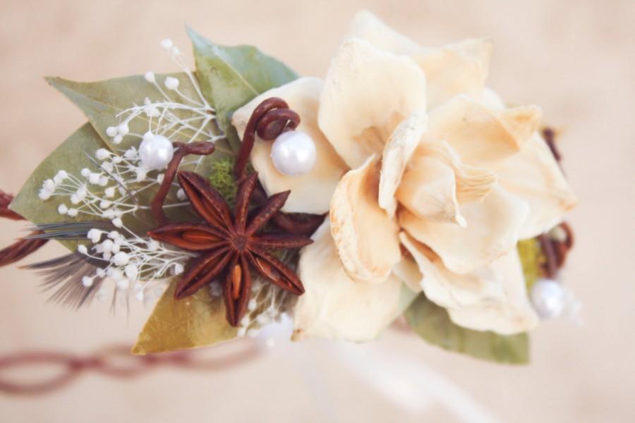 Hochzeit - bridal crown, bridal head piece, wedding head piece,  natuaral hair crown, natural pine cone rose floral hair crown - autumn eve