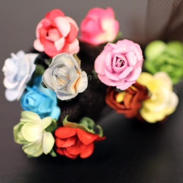 Mariage - Wild Roses Bridal Wedding Hair Accessories - Paper Flower Brass Bobby Pin - Set of 14