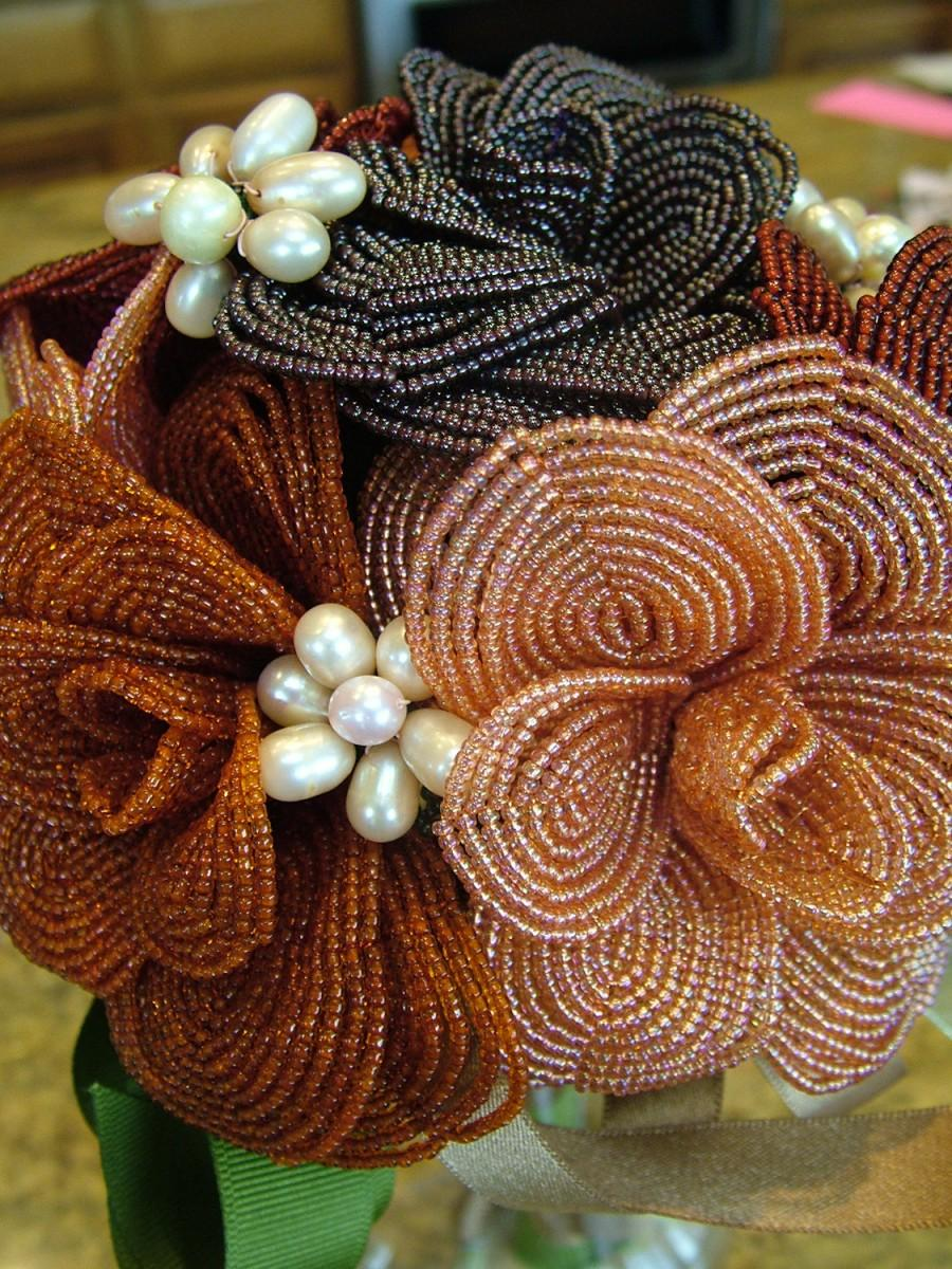 Hochzeit - Heirloom French Beaded Wedding bouquet Brooches of fresh water pearls Flowers Fall Colors wedding dress ready