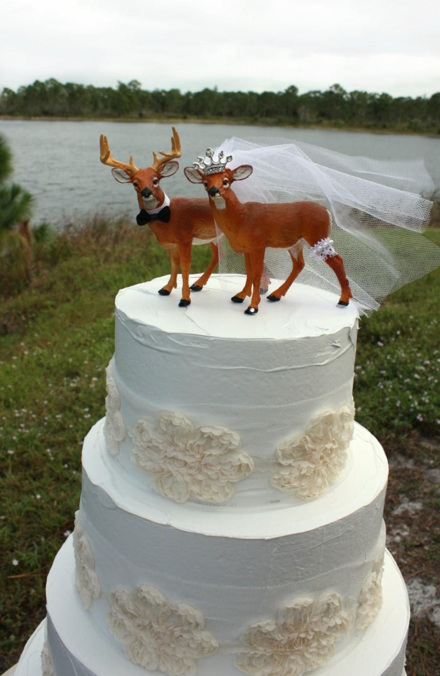 Mariage - Buck-doe-bride-groom-princess-tiara-deer-white tail-hunting-hunter-camouflage-wedding-cake topper-wild life-nature-western