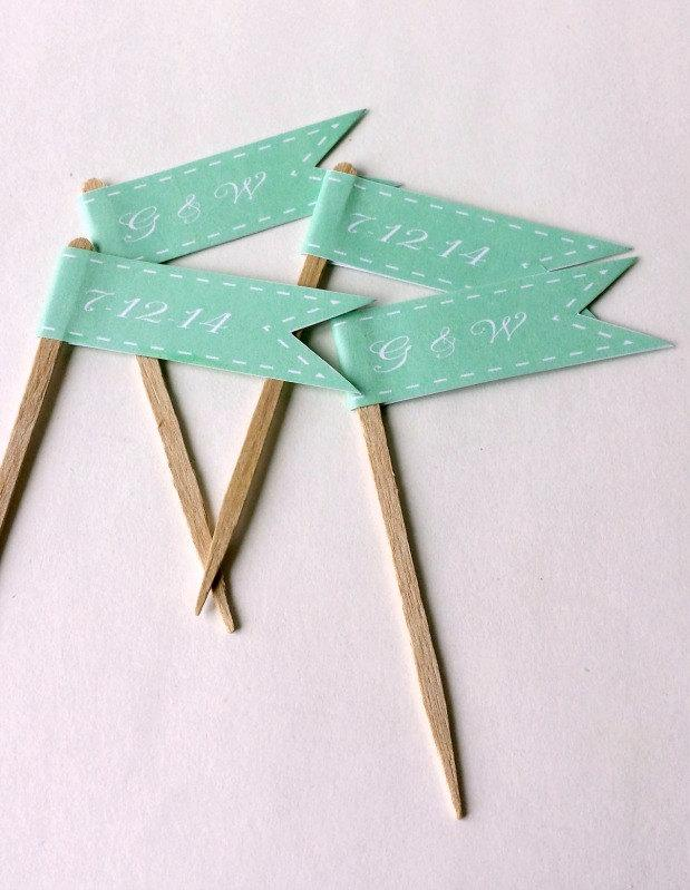 Wedding - Mint Wedding Cupcake Flags - Monogram Initials - Wedding Date - 1 Dozen