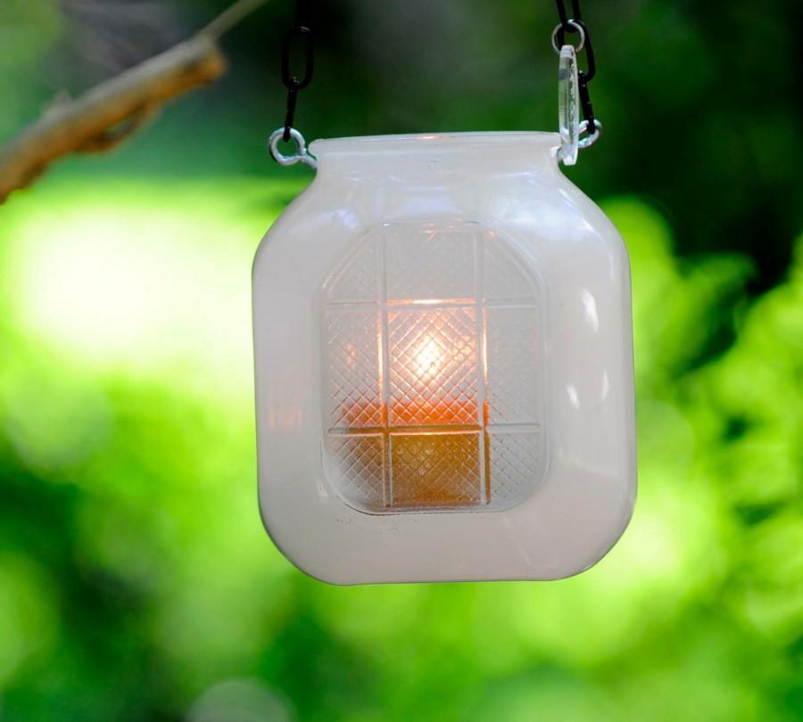 Свадьба - Vintage candle holder - milk glass hanging wedding lantern - glass hanging candle holder