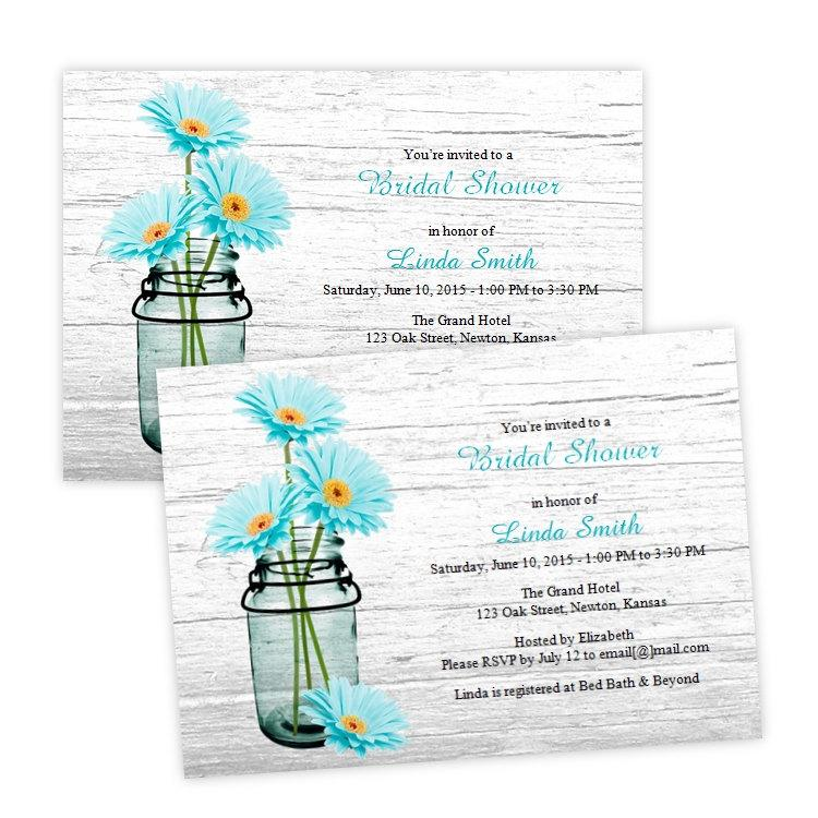 free bridal shower invitation templates downloads - country bridal shower invitation aqua daisies in a mason