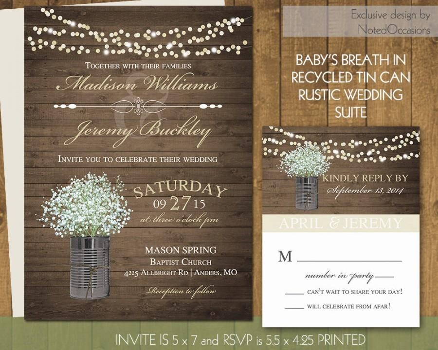 Rustic Wedding Invitations In Gold With Tin Cans