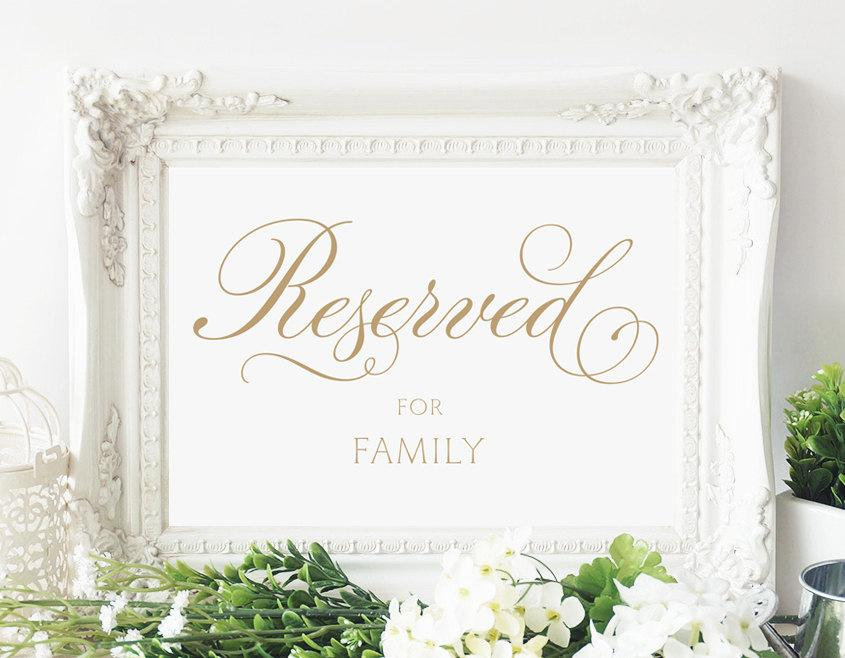 "Свадьба - Reserved for Family Sign - 5 x 7 sign - Printable sign in ""Baroque Swirls"" antique gold - PDF and JPG files - Instant Download"
