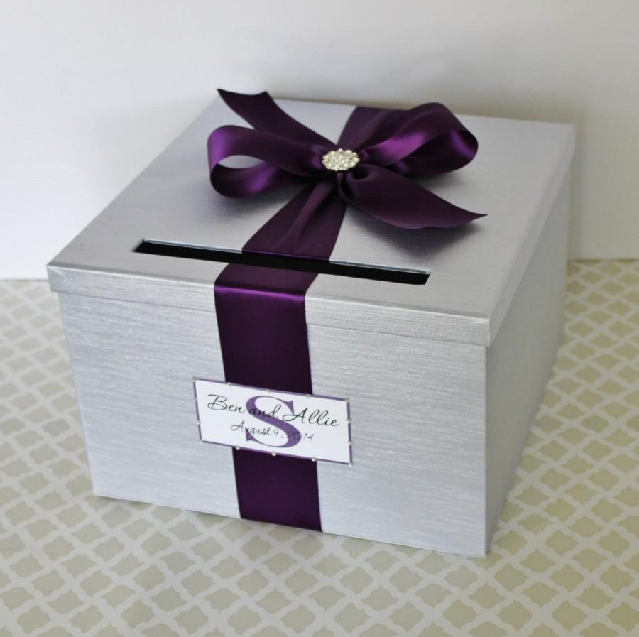 Hochzeit - Wedding Card Box Silver Plum Purple Customizable in your Color