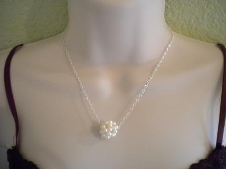 Свадьба - Freshwater Pearl Necklace, Pearl Ball Necklace, Bridesmaid Gift, Bridal Necklace, Pearl Ball PN004