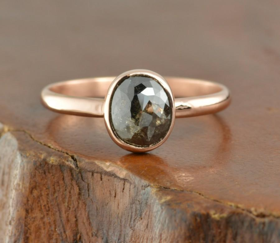 Mariage - Rose Cut Diamond 14k Rose Gold Ring