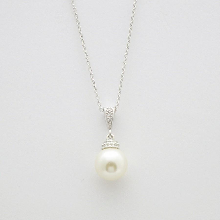 Simple wedding necklace bridal jewelry cream or white ivory pearl simple wedding necklace bridal jewelry cream or white ivory pearl pendant necklace silver bridesmaid gift ava aloadofball Gallery