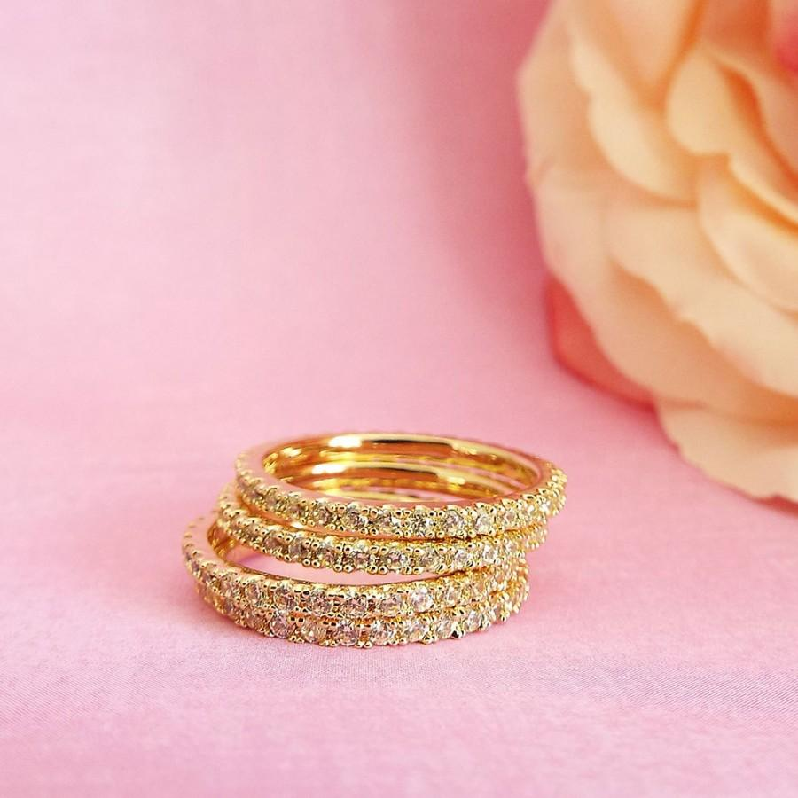 Yellow Sapphire Full Eternity Band CZ 1.5 Mm Micro Pave Thin ...