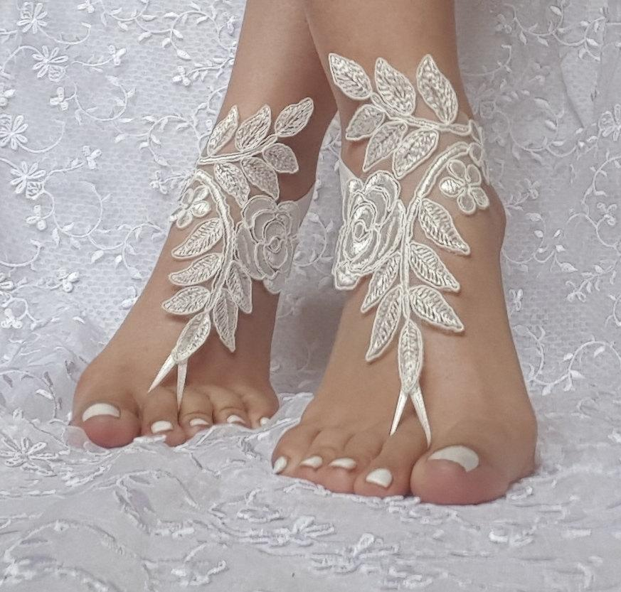 Bridal Barefoot Sandals Ivory Beach Wedding Sandal Footwear Footgear Lace Shoes