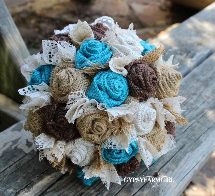 Свадьба - Turquoise Burlap and Lace Bride's Bouquets and Boutonnieres Custom Wedding Arrangements with Fabric Flowers