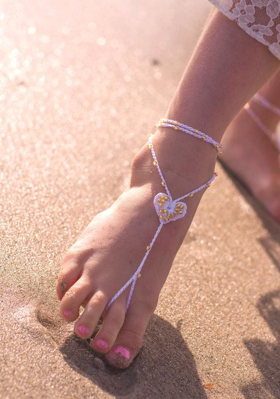 Flower Girl Barefoot Sandals Beach Wedding Baby Foot Jewelry