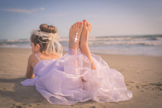 Girls Barefoot Sandals Foot Jewelry Beach Wedding Footless