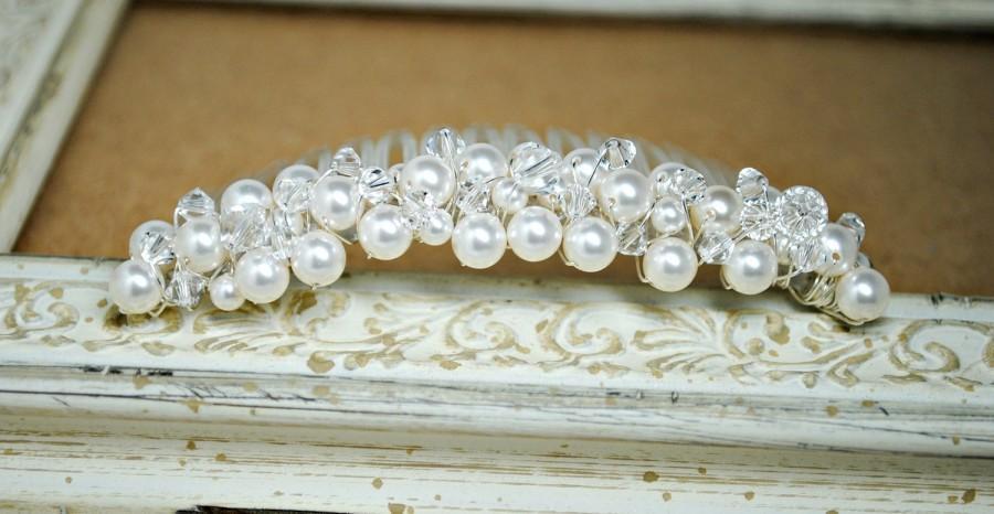 Свадьба - Pearl Crystal Wedding Hair Comb, Bridal Hair Accessories, Bridal Hair Comb, Cluster Pearl Headpiece, Fascinator,